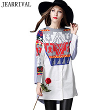 2017 New Women Tribal Print Blouses Spring Fashion Knitted Patchwork Long Shirt Dresses Plus Size White Blue Stripe Tops Blusas