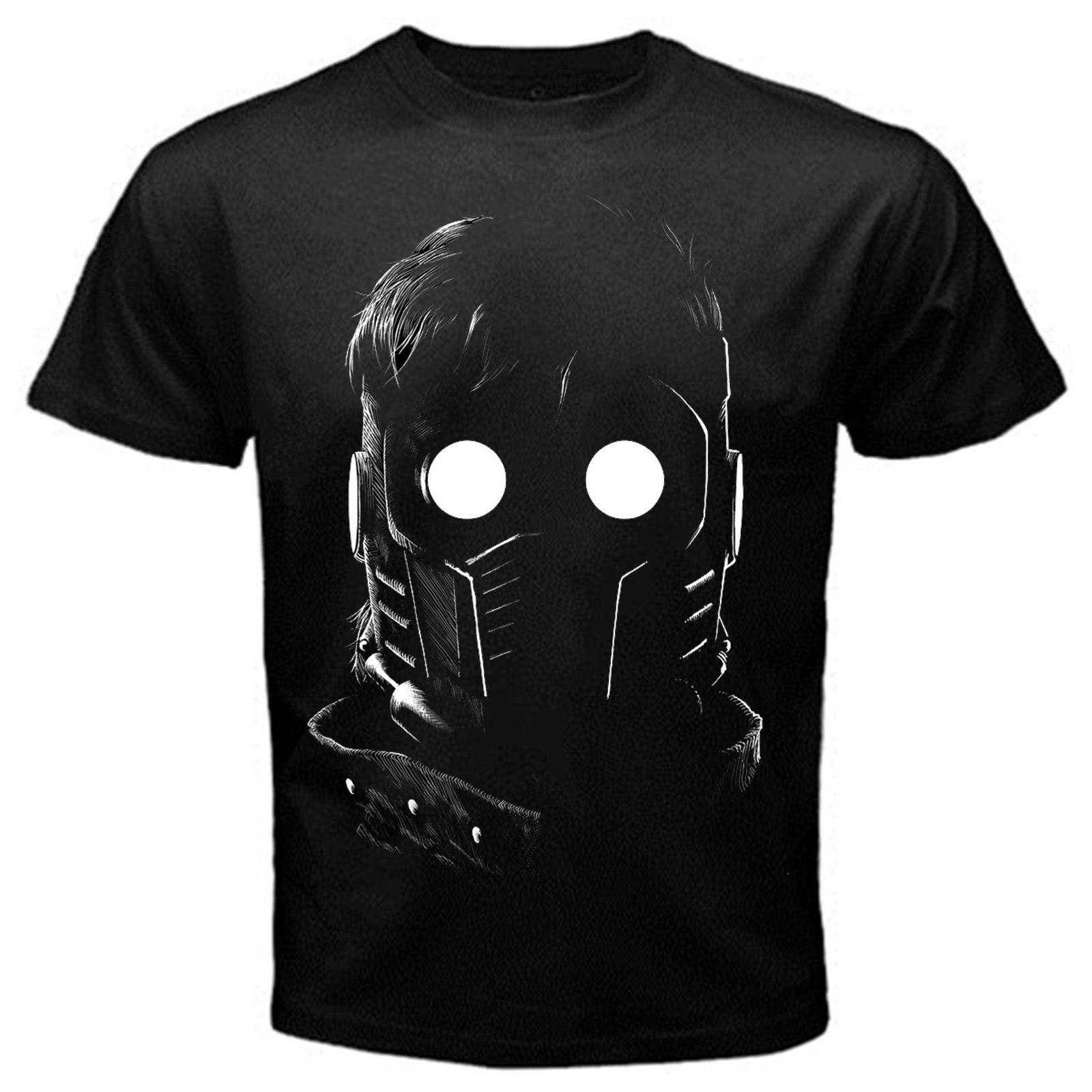 Starlord Guardian of the Galaxy movie cartoon T-Shirt Black Basic Tee