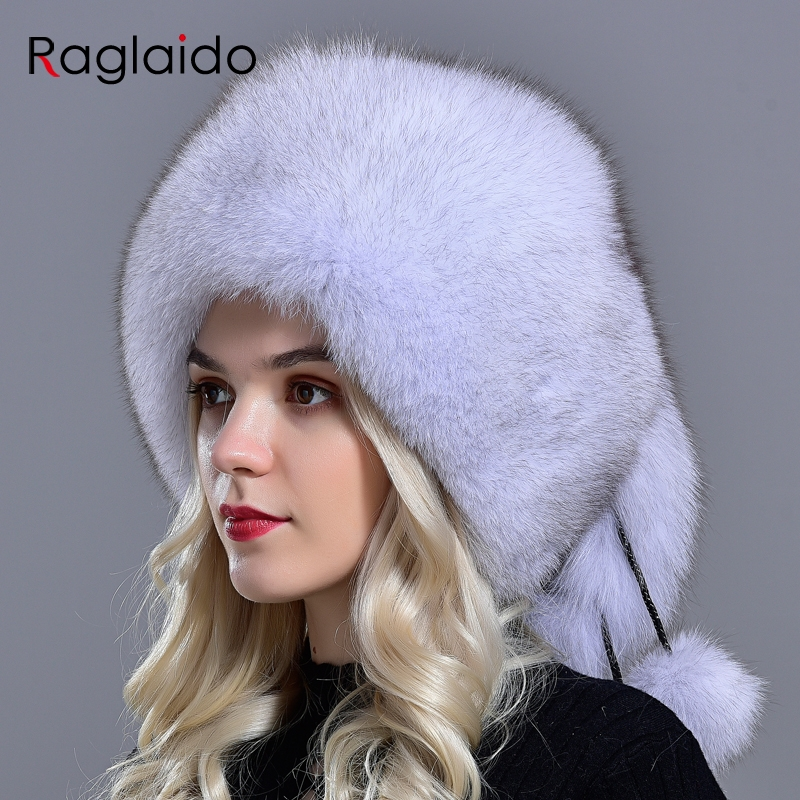 Raglaido Natural Fur Winter Hat Women Fox 5 Ball Hats Fluffy Fur Elegant Fashionable Stylish Modest Warm Skull Volume Hats