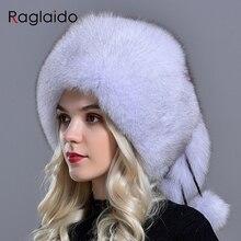 Raglaido natural fur winter hat women fox 5 ball hats fluffy fur elegant fashionable stylish modest warm skull Volume hats