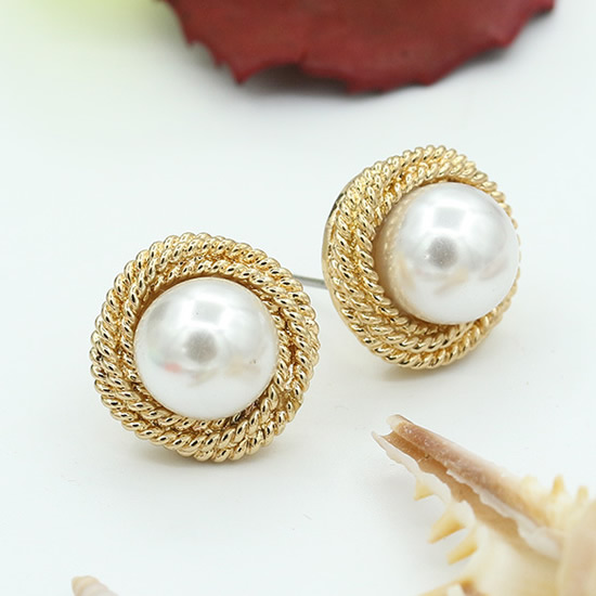 Us 1 57 21 Off Yyw Pair Zinc Alloy Stud Earring Designer Jewelry With Abs Plastic Pearl Stainless Steel Post Pin Ear Studs Earrings Women In