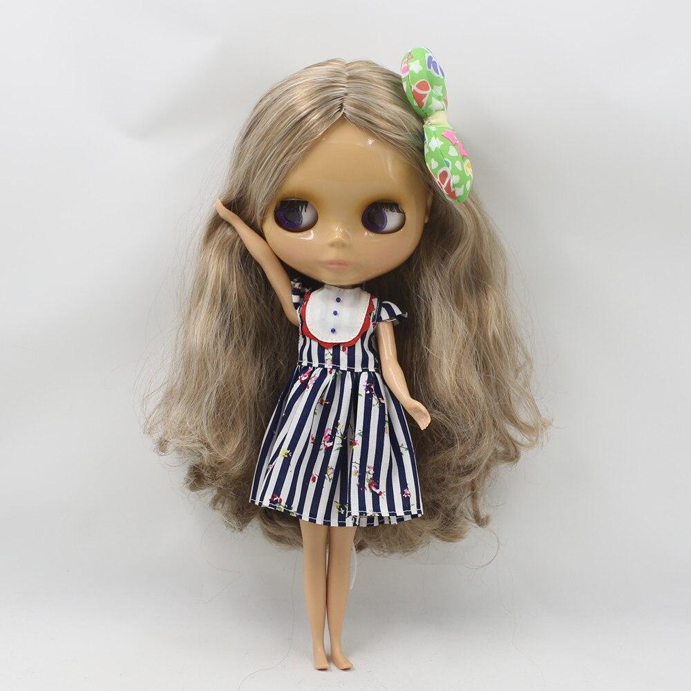 Oyuncaklar ve Hobi Ürünleri'ten Bebekler'de Kahverengi mix beyaz saç uzun dalgalı saç fabrika blyth doll 230BL340/0623 çıplak bebek normal vücut tan cilt sunshine cilt küçük meme'da  Grup 1