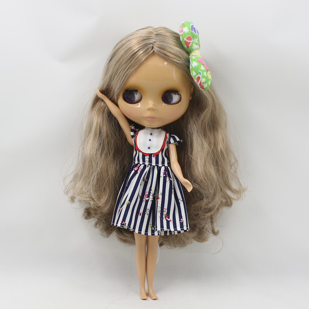 brown mix white hair long wavy hair factory blyth doll 230BL340/0623 nude doll normal body tan skin sunshine skin small breast factory blyth doll custom your doll choose hair face body skin only one doll design your own doll