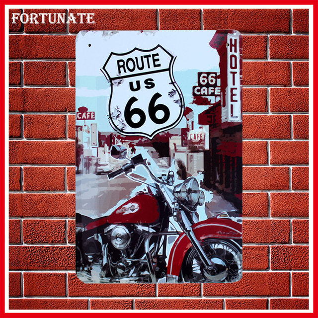 Hot Route US 66 Cafe Hotel Sign Metal Signs Home Decor Vintage Tin Signs  Pub Vintage