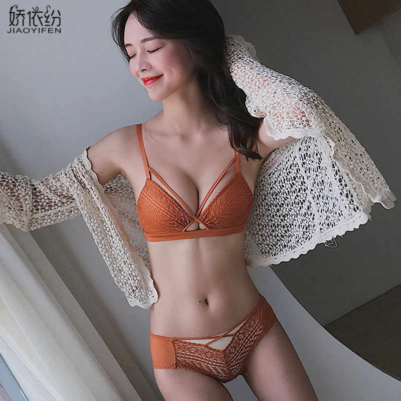 884c75a6267 Europe Sexy Hollow Underwear Deep V Push Up Bra Set Lace Embroidery  Knitting Brassiere Fashion Women