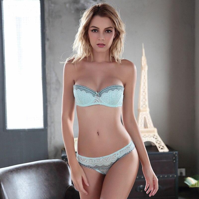 6fc462bc0464 OranriTing lencería Sexy fina Sujetador Push Up calzoncillos ropa interior  de las mujeres encaje conjunto de bragas y sujetador 70-85 ABCD la mitad ...