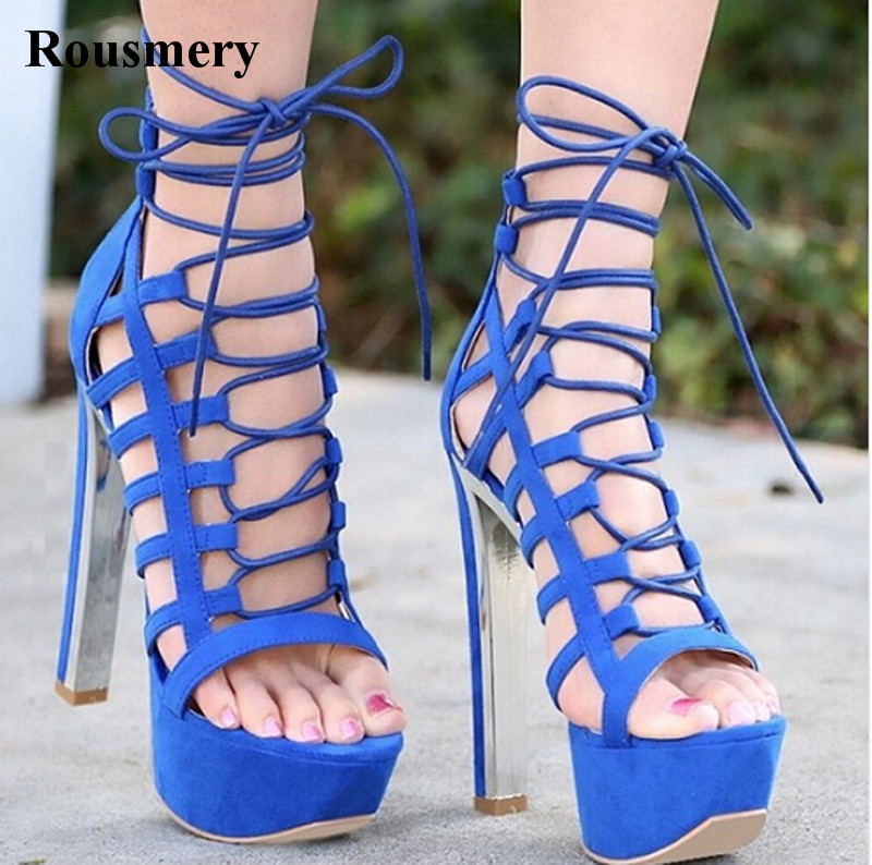 Hot Selling Women Fashion Open Toe Blue Suede Leather High Platform Sandals Cut-out Ankle Strap High Heel Sandals Dress Shoes hot selling beige black suede fringed platform sandal thick heel summer ankle strap women sandals peep toe cut out dress shoes