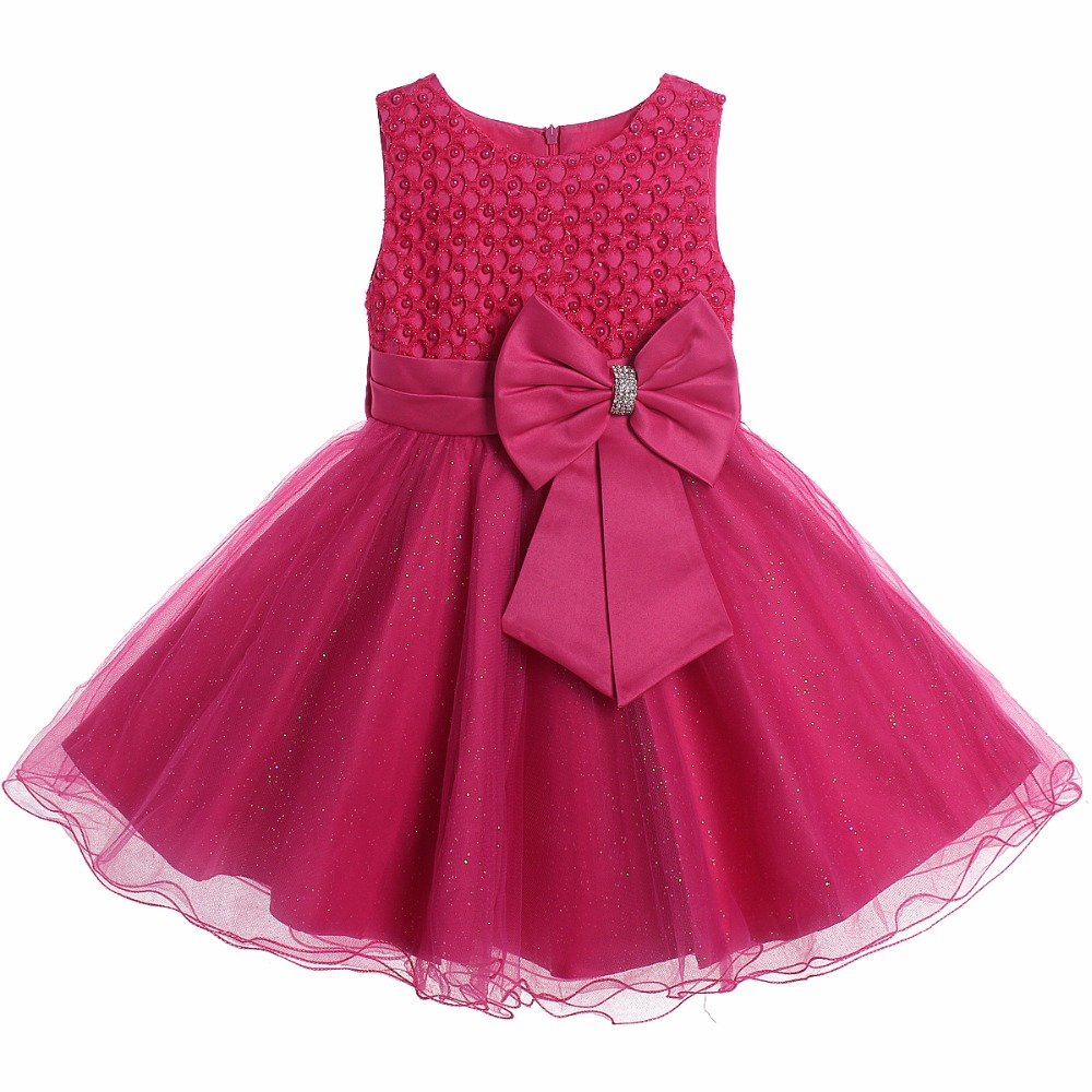 Hot Pink Simple Flower Girl Dresses Young Party Girl Dresses