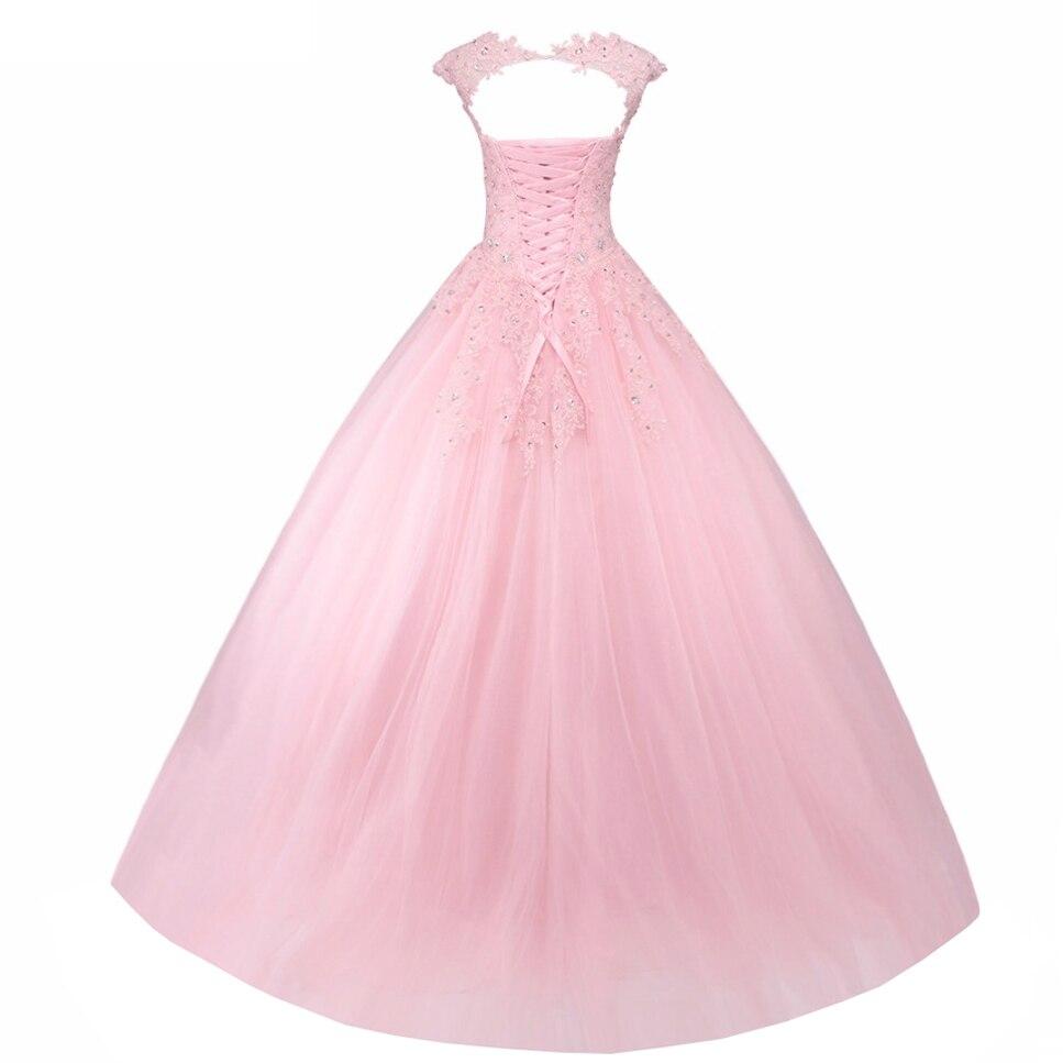 Ange marié rose Quinceanera robes De bal sans manches à lacets doux 16 robe Vestido De 15 Anos De Debutante - 2