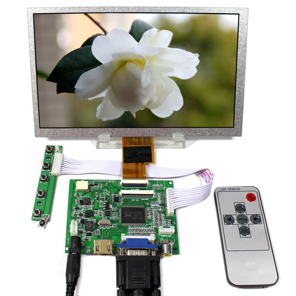 HDMI+VGA+2AV LCD Controller Board With 8inch 1024x600 ZJ080NA-08A LCD Screen hdmi vga 2av lcd controller board 8inch ej080na 05b 800xx600 replacement at080tn52 lcd screen