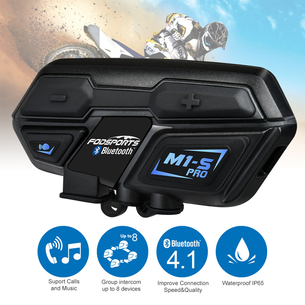 Fodsports M1 S Pro Helmet intercom Headset Motorcycle Waterproof Intercom Bluetooth interphone 8 Rider 1200M Intercomunicador