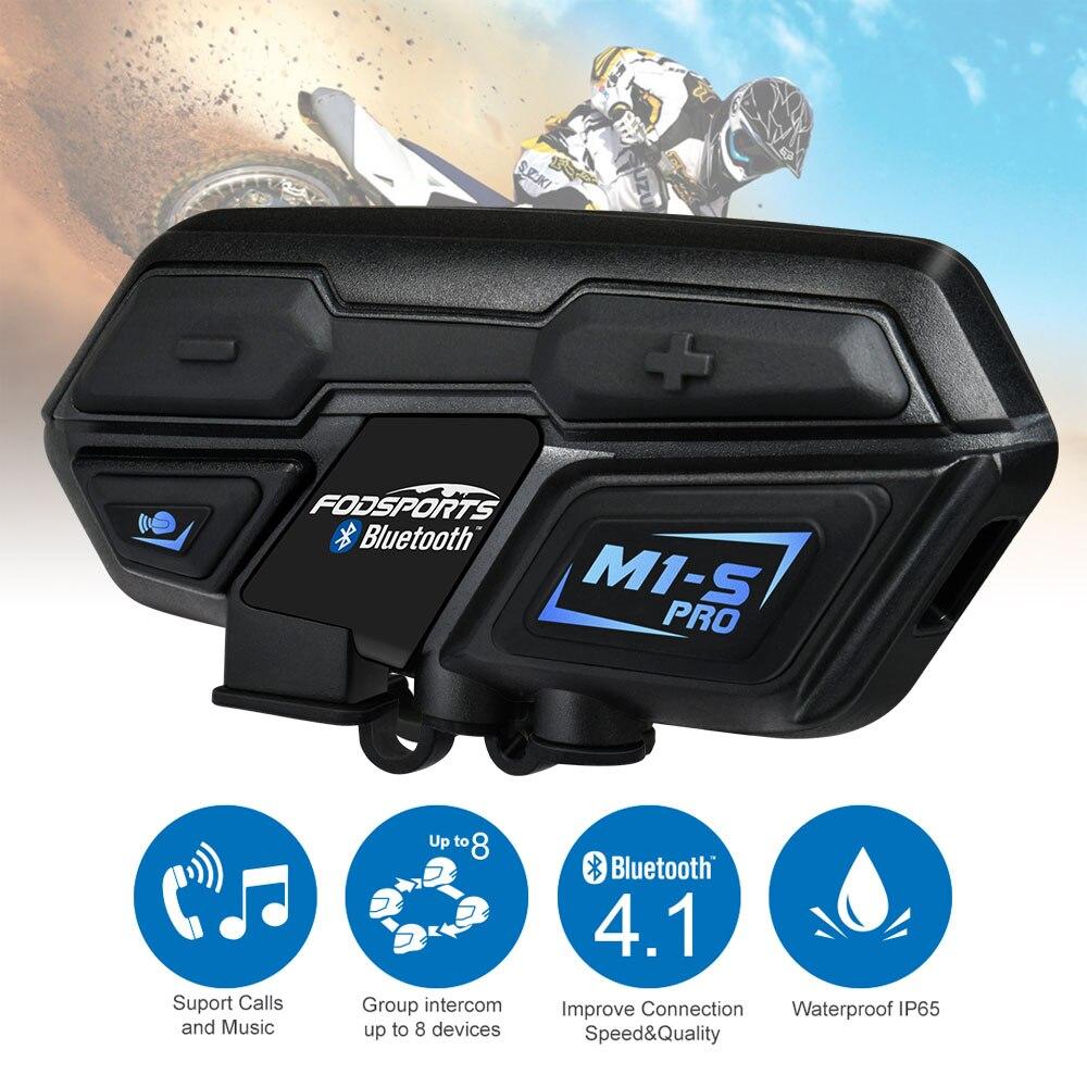 Fodsports M1-S Pro шлем домофон гарнитура мотоцикл водостойкий домофон Bluetooth переговорные 8 Rider 1200 м Intercomunicador