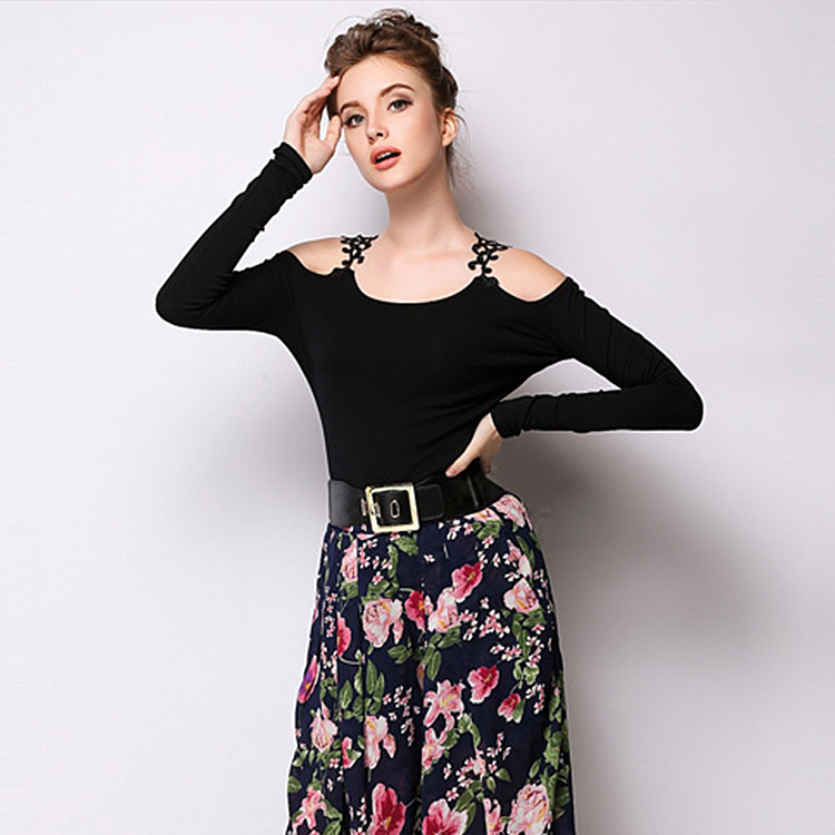 Fall of 15 new European fashion plus size Black Lace stitching top cropped off the shoulder long sleeve shirt wholesale