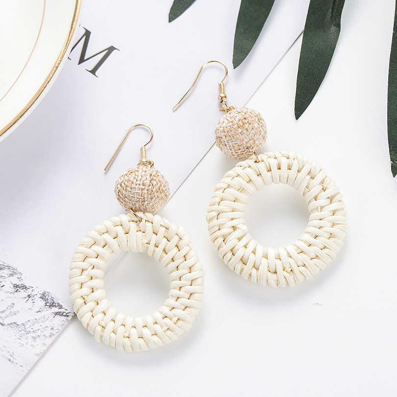 Bohemian Round Straw Woven Dangle Chandelier Earrings For Women Geometric Exaggerate Big Round Pendant Statement Earring Hot