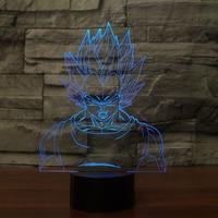 Creative 3D Led Visual Dragon Ball Lamparas 7 Colors Lighting Fixtures Usb Vegeta Desk Lamp Bedside