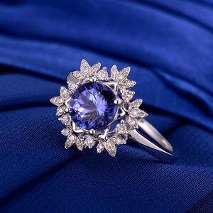 Image 2 - Naturale AAA Tanzanite Anelli 18K Oro Bianco Rotondo 7 millimetri Diamante Naturale Tanzanite Anello di Tanzanite Gioielli WU271