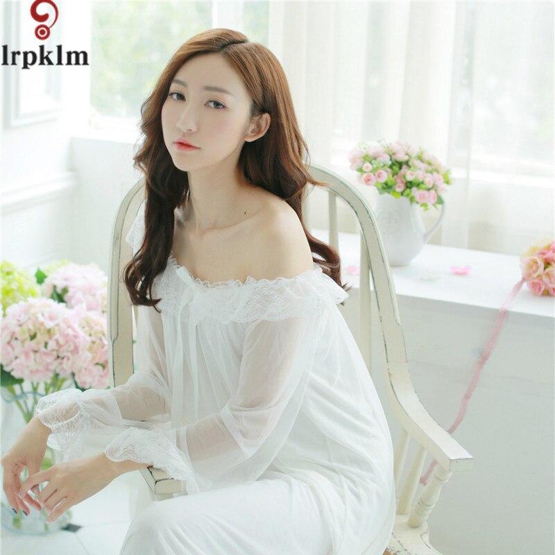 2017 Autumn Elegant Sleepwear Romantic And Vintage Ladies Sexy Modal Home Dress Comfortable Long   Nightgown     Sleepshirts   SY763
