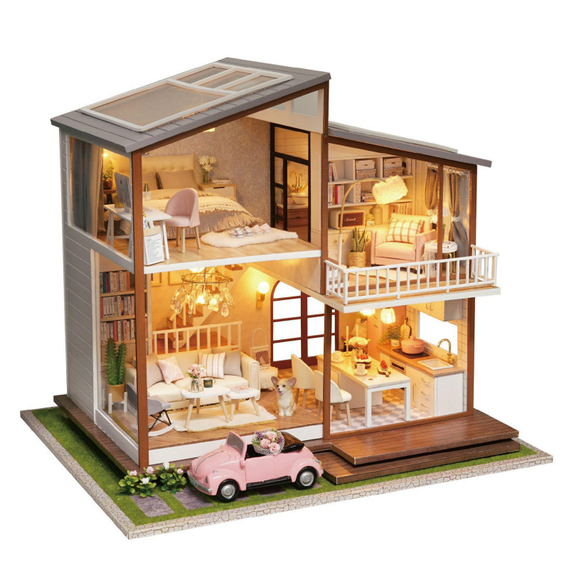 Big House Wooden Hand-assembled model villa DIY cottage slow time covered with music with car creative birthday gift girlfriendBig House Wooden Hand-assembled model villa DIY cottage slow time covered with music with car creative birthday gift girlfriend