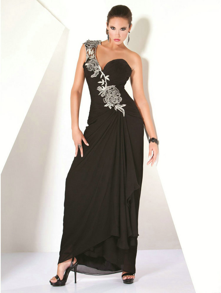 Online Shopping Sale Beautiful One Shoulder Turkish Evening Dresseselegant Chiffon -9918