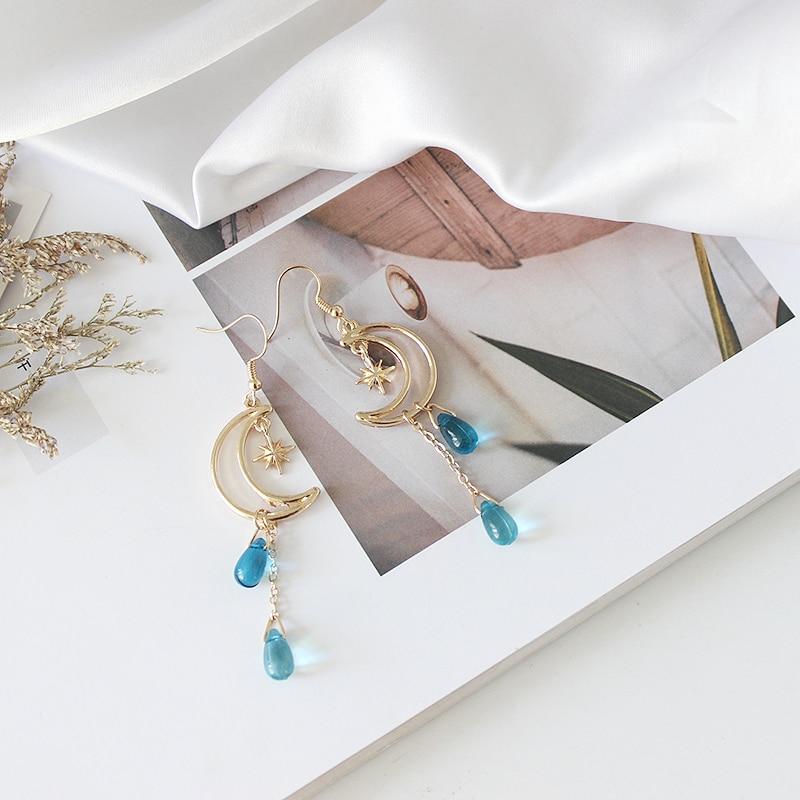 SANSUMMER 2019 Alloy Electroplate Fashionable Elegant Temperament Star Moon Water Drip Long Popular Blue Earring For Women 5772 in Stud Earrings from Jewelry Accessories