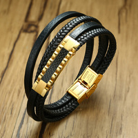 XUANPAI Men's Carbon Fiber Charm Bracelet Double Layers Genuine Braided Leather Rope Male Wrap Pulseira Jewelry