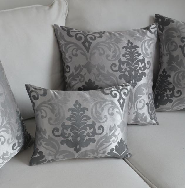 Housse de coussin de style Baroque argent taie d'oreiller pour