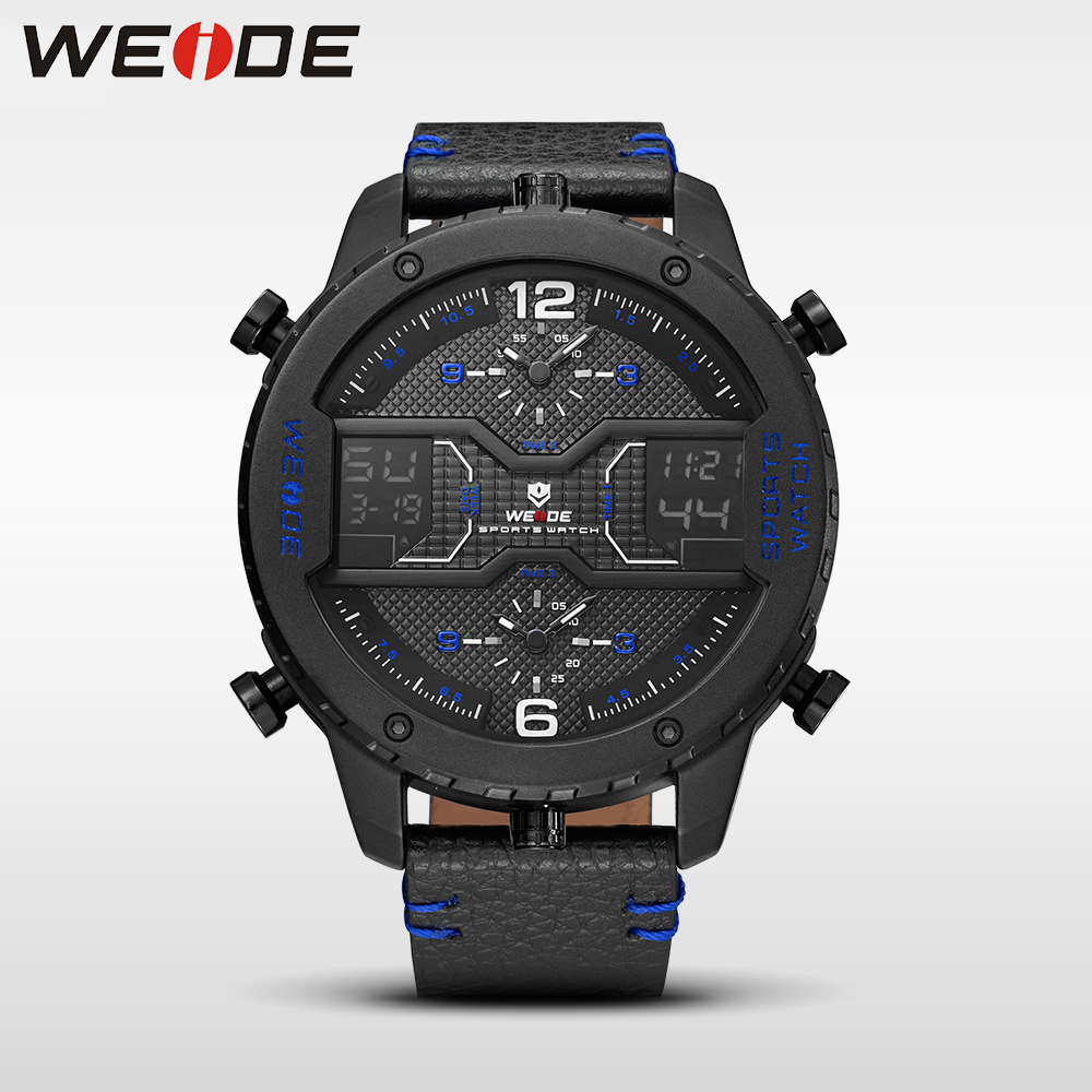 WEIDE genuine luxury brand Big dial watch quartz men leather sports watches LED Double display relogios waterproof alarm clock цена