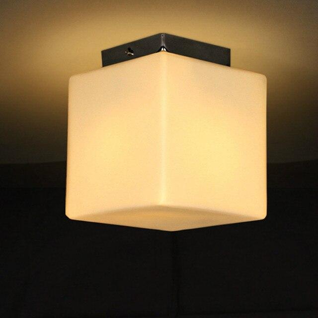 Moderne Einfache Weiß Glas Ice Cube Led E27 Deckenleuchte Für Wohnzimmer  Gang Korridor Deco 12/