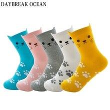5 пар забавных милых женских носков с рисунком кота из мультфильма; мягкие удобные хлопковые носки для женщин; сезон осень-зима; повседневные модные милые носки для девочек