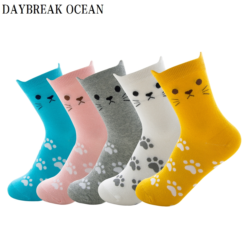 5 pairs Cartoon Cat Funny Cute Women