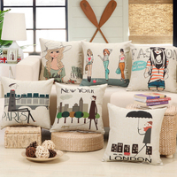 Beige Print Cushion Square 45 55cm Home Decor Sofa Seat Chair Back Cusion Include Fill Inner