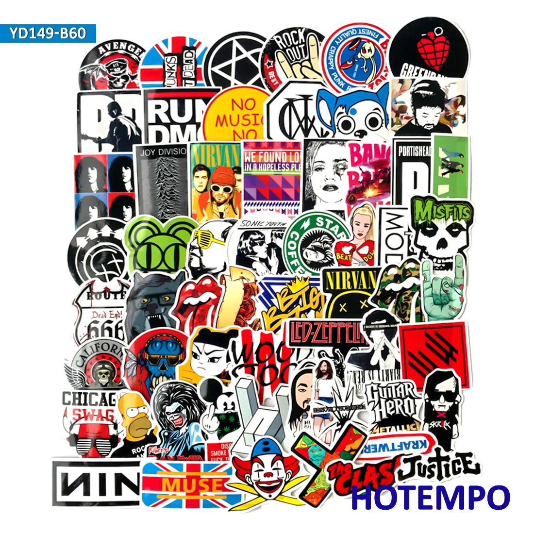 60 50 pcs rock and roll hip hop musik punk band stiker untuk ponsel laptop bagasi guitar case skateboard sepeda stiker mobil di stiker dari mainan hobi