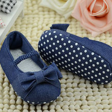 Cotton Baby Girls Shoes Infant First Walkers Toddler Girls Kid Bowknot Denim Soft Anti-Slip Crib Shoes Baby Toddler Shoes(China)