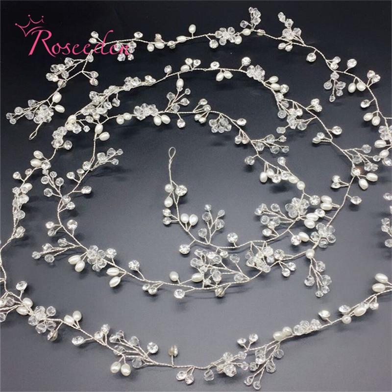 Handmade 140cm long vine hair accessories Rhinestone hairpiece wedding headband bridal crown tiara RE709