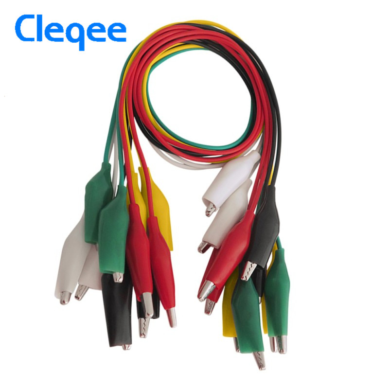 ᗗCleqee P1025 10pcs Alligator Clips Electrical DIY Test Leads ...