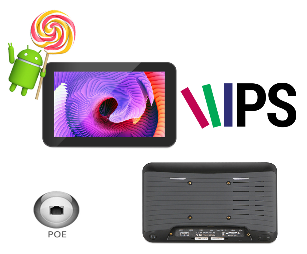 8 pollice Android POE tablet pc (Rockchip3188, 1 gb DDR3, 8 gb nand flash, quad core, uscita HDMI, Bluetooth)