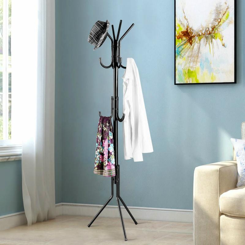 Standing Entryway Coat Rack Coat Tree Hat Hanger Holder 11 Hooks for Jacket Umbrella Tree Stand with Base Metal (Black)
