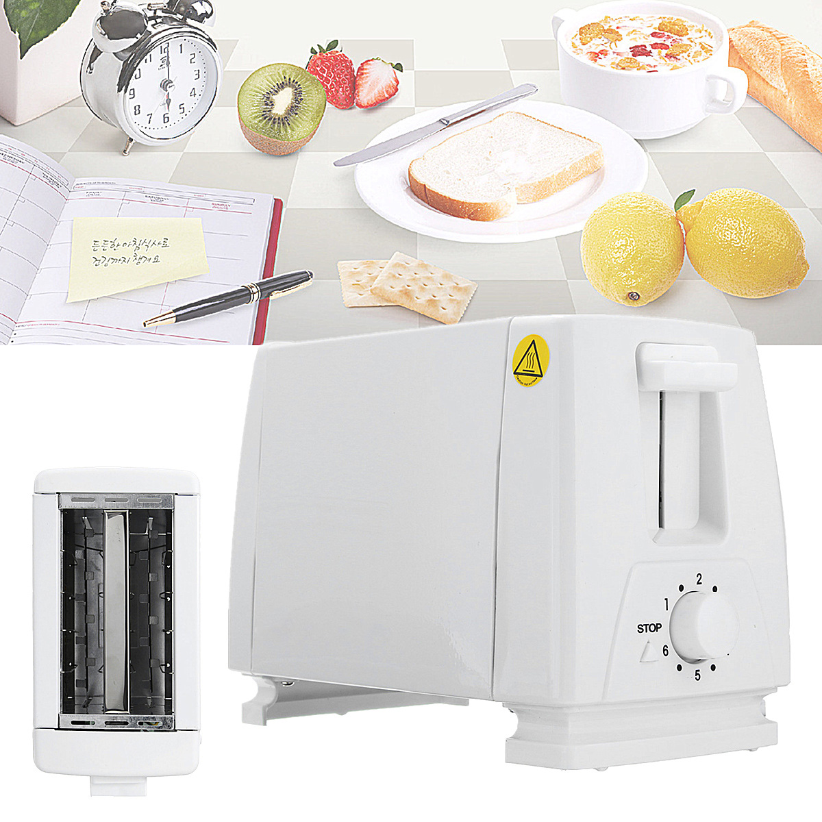 750W Stainless Steel 2 Slice Toaster Mini Automatic Electronic Bread Toaster Household Breakfast Baking Bread Machine