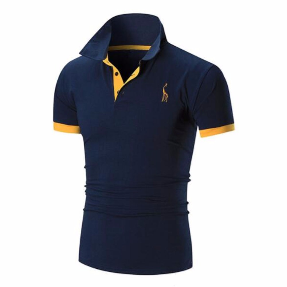 Mens   Polo   Shirt Brands 2018 Male Short Sleeve Casual Slim Solid Color Deer Embroidery   Polos   Men XXXL