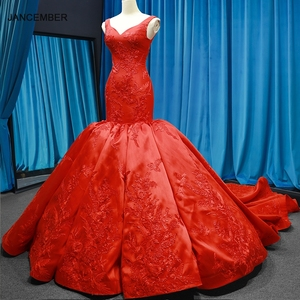 Image 1 - J66785 jancember mermaid evening dresses V neck red wedding party trumpet dresses pengant merah pleat robe rouge satin court