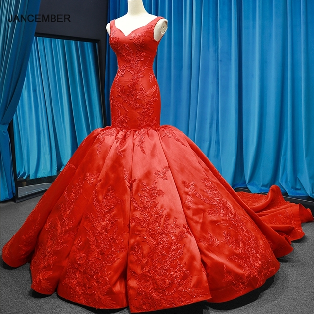 J66785 jancember mermaid evening dresses V neck red wedding party trumpet dresses pengant merah pleat robe rouge satin court