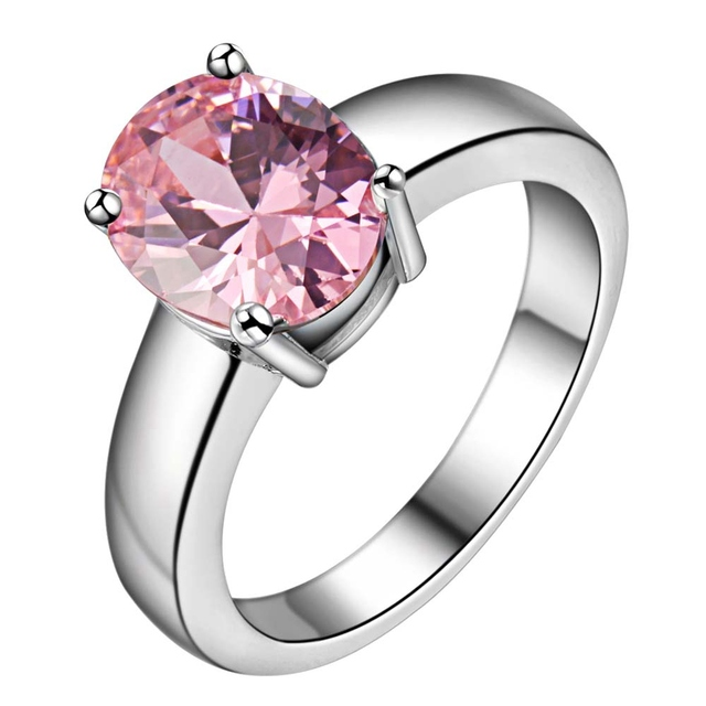Inlay ellipse pink big zircon Wholesale 925 jewelry silver plated ring ,fashion