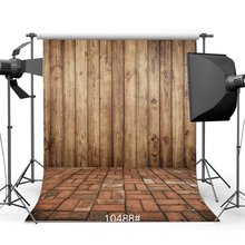 Photography Backdrops Rustic Vintage Wooden Wall & Nostalgia Painted Brick Floor Portraits Background