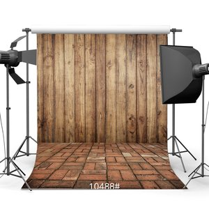 Image 1 - Photography Backdrops Rustic Vintage Wooden Wall & Nostalgia Painted Brick Floor Portraits Background
