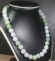 CHINESE Green 100% Natural A Bead beads Necklace 18 inches