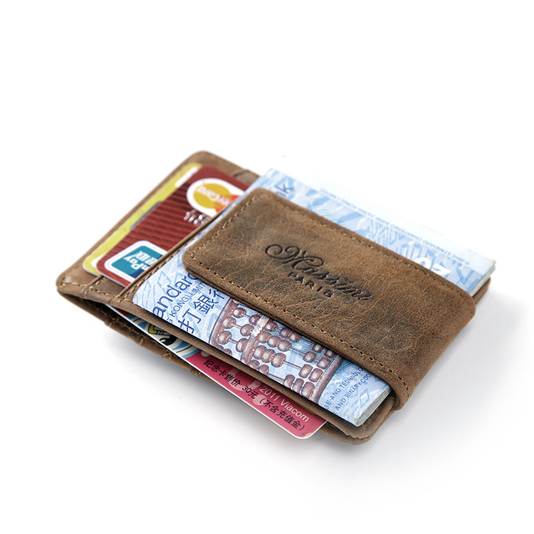 Teemzone Free Shipping Men Genuine Leather Wallet Business Casual Credit Card Id Holder Strong Magnet Money Clip 2 Colors K308 In Holders From