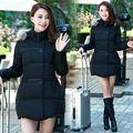 Зима новая мода сплошной цвет нерегулярные плащ хлопок беременных женщин Корейской молния меховой воротник пуховик