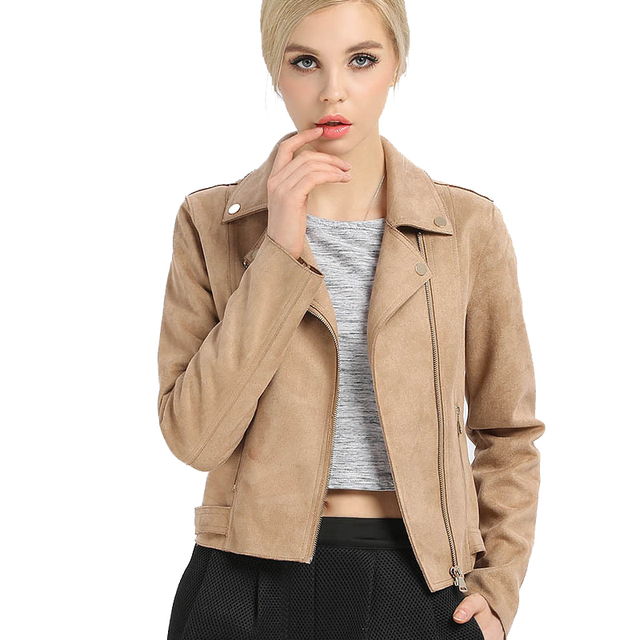 US  38.99 22% OFF Leather Jacket Women High Quality Suede Jackets 2018  Spring Motorcycle Biker Leather Suede Coat Blouson Cuir Femme BJ4101-in  Leather ... df77a3292b05