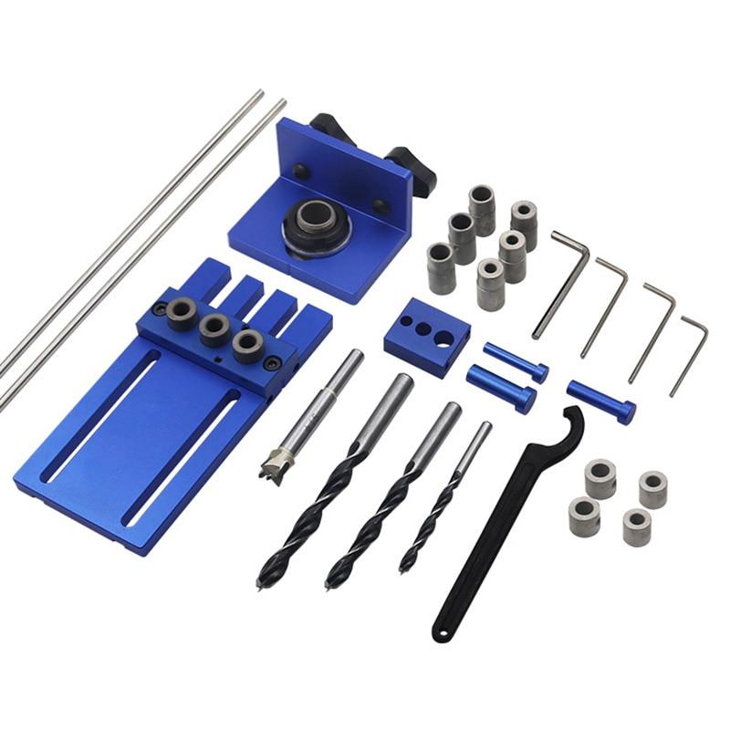 Herramienta de carpintería DIY carpintería Joinery Kit de clavijas de alta precisión 3 en 1 kit de guía de perforación localizador de perforación