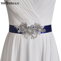 TOPQUEEN S347 High Quality Modest Special Occasion Waistband Diamond Bridal Belts Wedding Sash With Rhinestones For